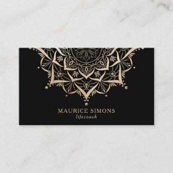 elegant gold lotus yoga instructor mandala business card