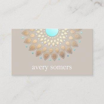 elegant gold ornate lotus mandala natural health business card