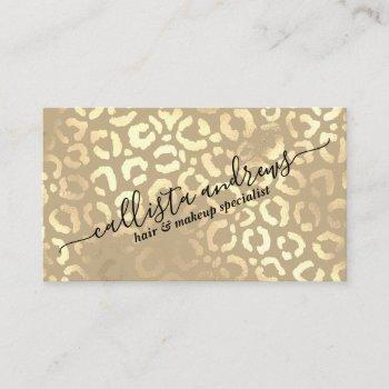 elegant gold taupe leopard cheetah animal print business card