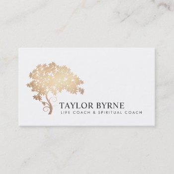 elegant gold tree logo professional business card