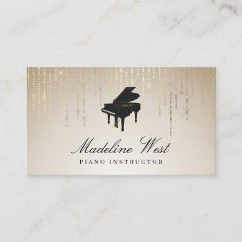 elegant golden rain piano instructor music teacher business card