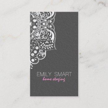 elegant gray damasks white vintage lace 2 business card