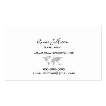 Small Elegant Gray World Map On White Business Card Back View