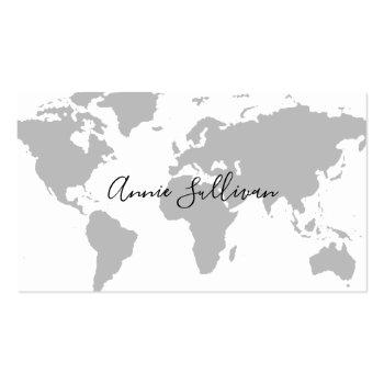 Small Elegant Gray World Map On White Business Card Front View