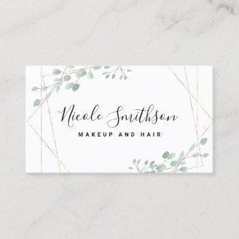elegant greenery geometric frame business card