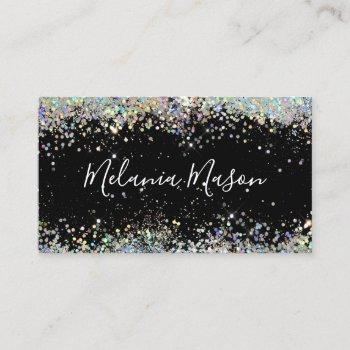 elegant holographic glitter makeup artist black business card