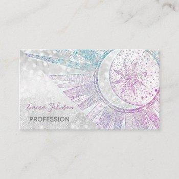 elegant iridescent sun moon mandala silver design business card