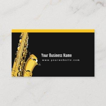 elegant jazz sax music black business card