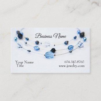 elegant jewelry designer blue beads business card