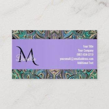 elegant lavender purple blue green gold mandala business card