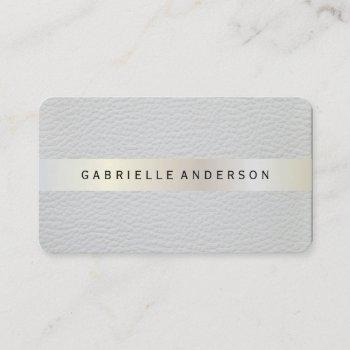 elegant leather with luxe metallic trim business card