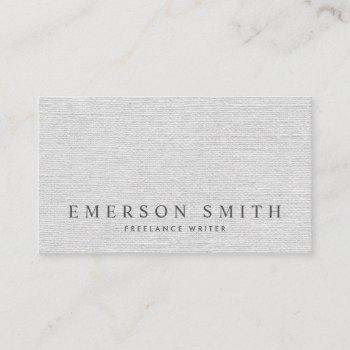 elegant light gray faux linen classy business card
