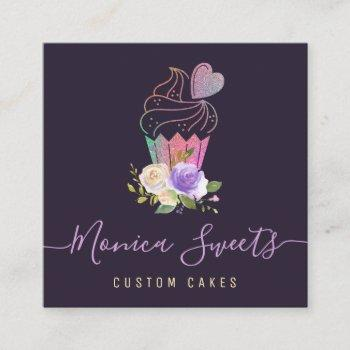 elegant logo custom cakery square business card