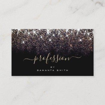 elegant luminous dark gold glitter professional business card