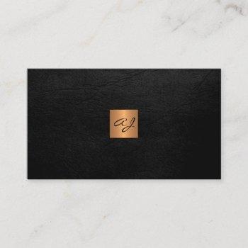 elegant luxury black leather copper gold monogram business card