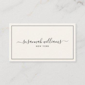 elegant luxury script calligraphy black ivory business card