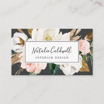 elegant magnolia | black and white business card