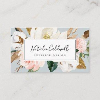elegant magnolia | blue gray business card