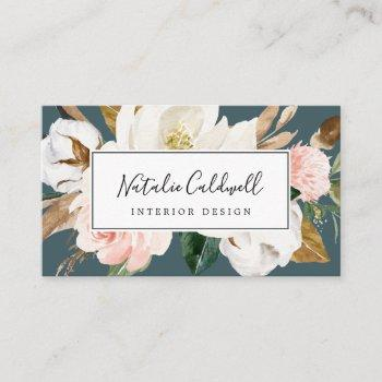elegant magnolia | teal and white business card