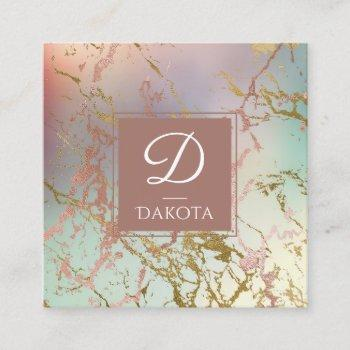 elegant marble | copper green rose gold monogram square business card