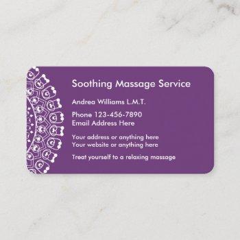 elegant massage professional business card