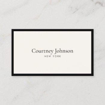 elegant minimalist luxury boutique black/ivory business card