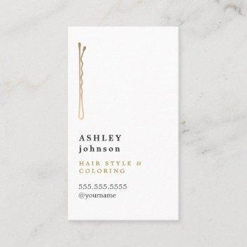 elegant minimalist white faux gold hairdresser business card