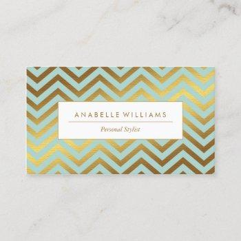 elegant mint and faux gold foil chevrons business card