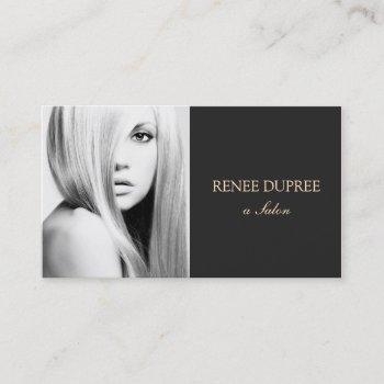 elegant modern black salon photography photo card
