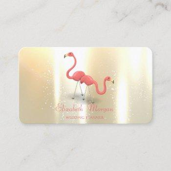 elegant modern girly funny, flamingos business card