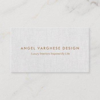 elegant  modern, light grey linen professional business card