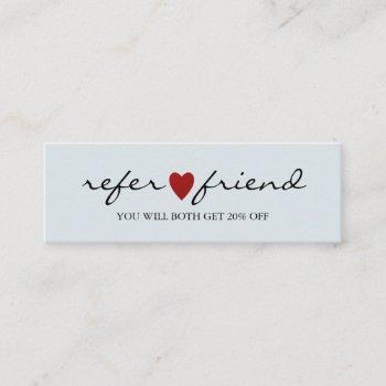 elegant modern minimalist red heart referral card