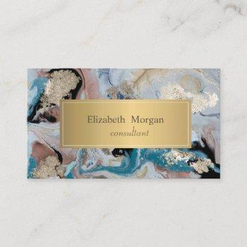 elegant modern ombre marble gold business card