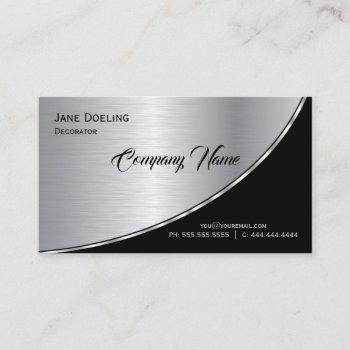 elegant modern professional highlight black silver business card