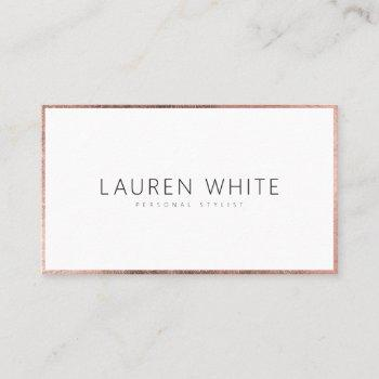 elegant modern rose gold minimalist professional business card