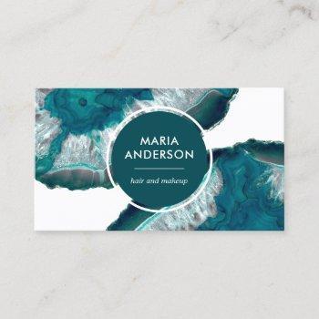 elegant modern teal agate geode gemstone business card