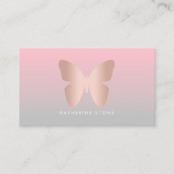elegant modern trendy rose gold butterfly business card
