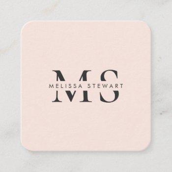 elegant monogram modern blush pink rounded square business card