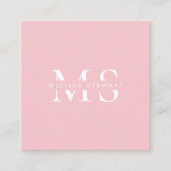 elegant monogram modern pastel pink professional square business card