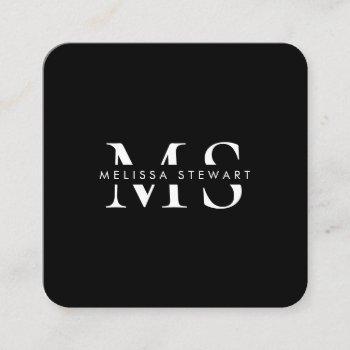 elegant monogram modern white black rounded square business card