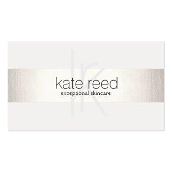 Small Elegant Monogram White Modern Faux Silver Striped Business Card Front View