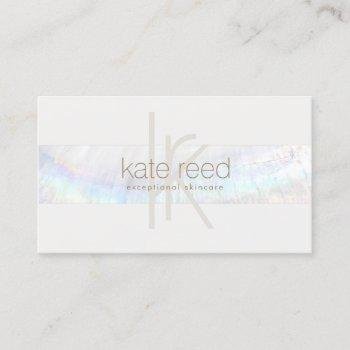 elegant monogram white modern seashell stripe business card