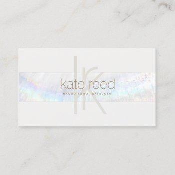 elegant monogram white modern seashell stripe business card