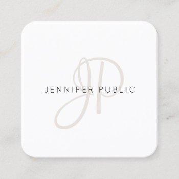 elegant monogrammed modern design chic template square business card