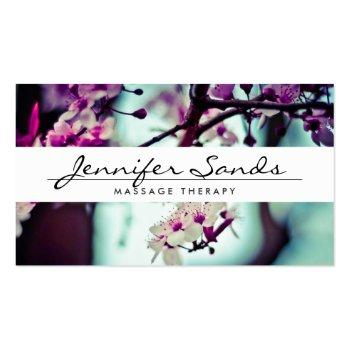 Small Elegant Name With Cherry Blossoms Business Card Front View