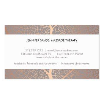Small Elegant Name With Rose Gold Tree Pattern Business Card Back View