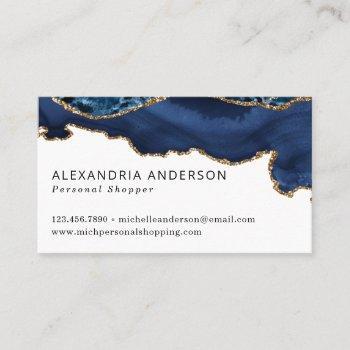 elegant navy blue gold foil marble agate sparkle business card