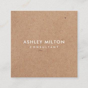 elegant olive green printed kraft consultant square business card