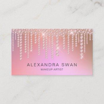 elegant ombre pink & purple diamonds makeup artist business card