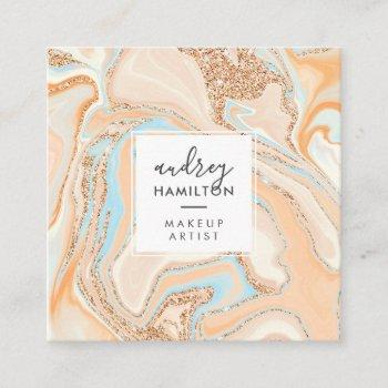 elegant peach blue marble rose gold glitter makeup square business card